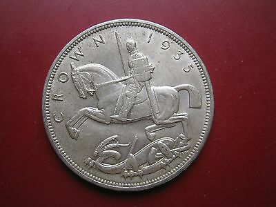 UK British 1935 Silver Crown Coin George V Rocking Horse in high grade