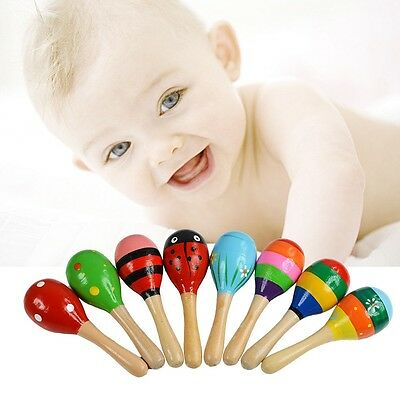 Wooden Colorful Maraca Rattles Kids Children Musical Party Favorate Shaker Toys