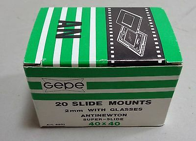 Gepe Super Slide Antinewton 40 x 40 Slide Mounts 2mm with Glasses 20 in Box New