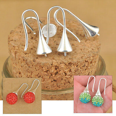 20PCS Lot Findings Bright Silver Earring Bail Trumpet Hook Ear Wires For Crystal