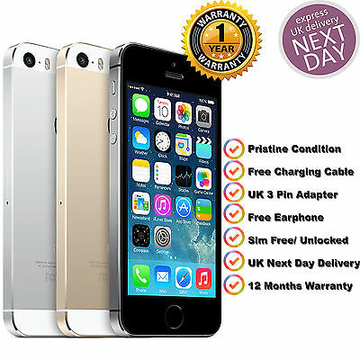 Apple iPhone 5s 16GB  Unlocked SIM Free Smartphone Various Colours Free Earphone