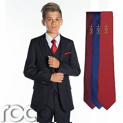 Boys Navy Suit, Boys Communion Suit, Red, Blue, Burgundy Chalice Tie, 5-13 years