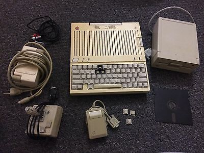 Apple IIc Compact 2 Computer Vintage PC Lot Mouse, External Drive Works Power