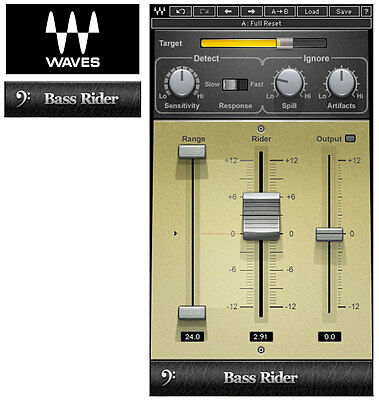 Waves BASS RIDER plug-in *NEW*+1yr WUP Gain-leveler for Bass/Kick/Snare/Toms/etc