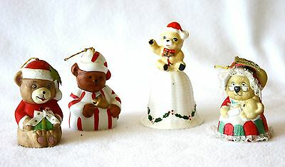 Santa Bear Christmas Bells Vintage Collectible Lot of 4 Holiday Porcelain Decor
