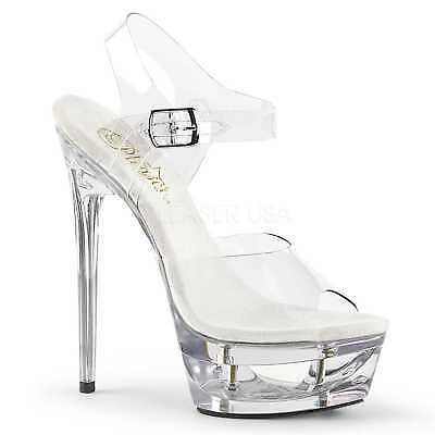 e27fdb45b867e5 PLEASER Eclipse-608 Clear Sexy Cut Out Platform High Heel Ankle Strap  Sandals