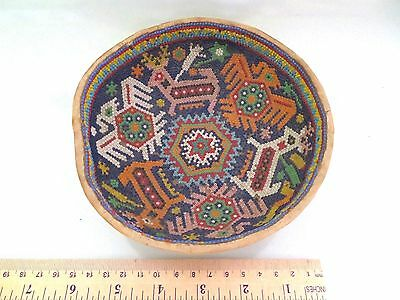 "Vtg 6"" Huichol Indian Mexican Seed Bead Beaded Folk Art Gourd Dish Bowl, Animals"