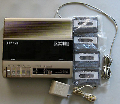 SANYO TAS 3000 telephone answering machine with tapes + power adapter