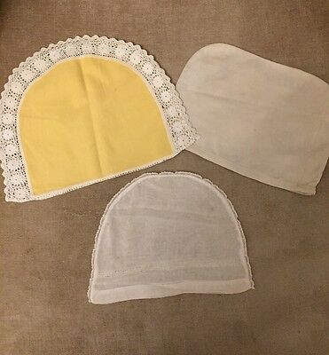 3 X Vintage Cotton & Linen Tea Cosy Retro Cosies Yellow White