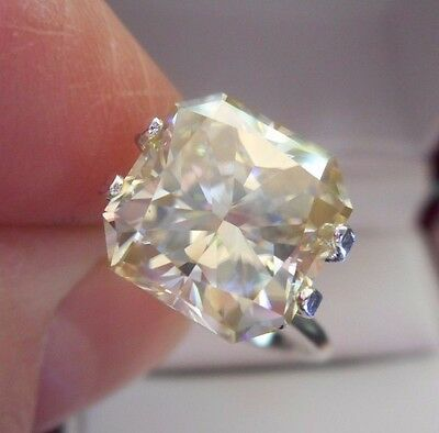 BEAUTY! 4.65 ct 10.00X10.20 mm VVS1 ICY CANARY WHITE LOOSE RADIANT MOISSANITE
