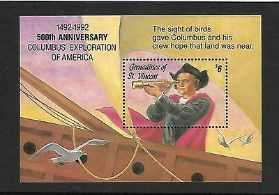 GRENADINES ST.VINCENT 1992 #959 S/S VF NH, DISCOVERY AMERICA 500th ANNIVERSARY