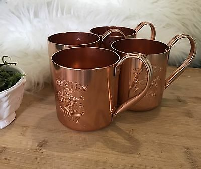 NEW--Set of 4-Smirnoff Vodka Moscow Mule Mugs-Copper Anodized Aluminum-Hong Kong