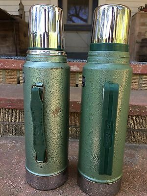 2 ALADDIN STANLEY A-944DH GREEN 1 QUART THERMOS Made in the USA 1989 & 1998