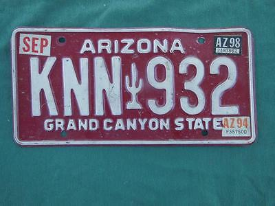 1994 Arizona Knn-932 Grand Canyon State License Plate Automobile Garage Garden