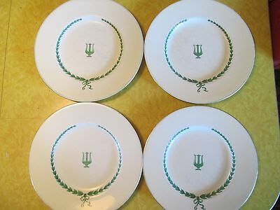 Four (4) Minton (Mintons) Lyre Green Luncheon Plates, Used, Good+ Condition