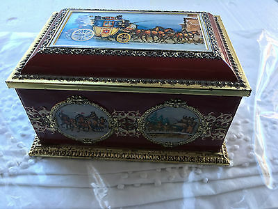 Vintage Klann Quality Hinged Tin Made in Western Germany Stage Coach Theme
