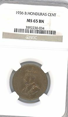 1936 British Honduras Cent      KM# 19      GRADED BY NGC MS 65BN