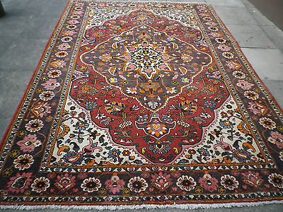 Old Hand Made Traditional Persian Rugs Oriental Wool Orange Red Carpet 306x215cm