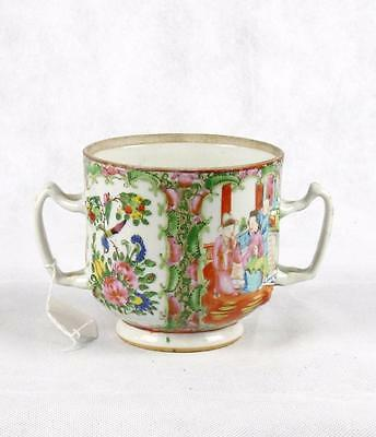 19th C Qing Dynasty Canton Famille Rose Two Handled Tea Cup