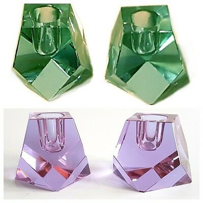Vtg Zbs Neodymium/alexandrite Art Glass Candle Holders By Miroslav Klinger- Pair