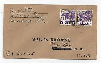Netherlands Indies 1936 Cover to US, 7½c Rice Field x 2