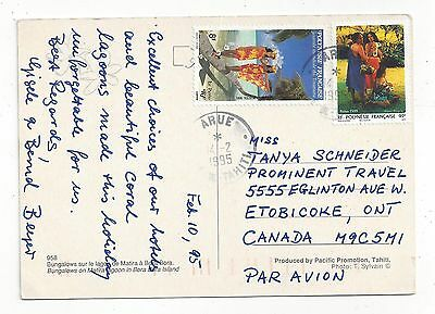 French Polynesia 1995 PC Cover to US, Nice Stamps, Native Attire