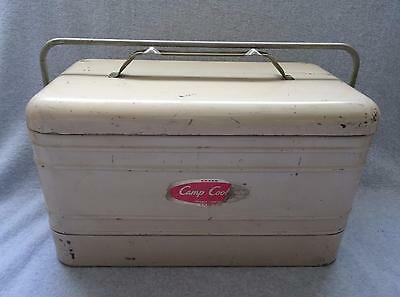 Vintage OLD 1950s Camp Cooler By Kwik Way Metal BEIGE TAN Rare LARGE Ice Chest