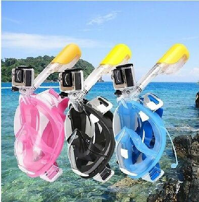Anti Fog Swimming Full Face Mask Surface Diving Snorkel Scuba for GoPro, BLUE