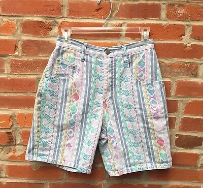 Vintage 80s 90s Multicolored Stripe Print Denim Jean Shorts (1275)