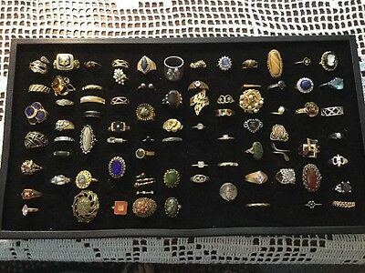 LARGE LOT RINGS...MIX COSTUME AND SEMI PRECIOUS...80 Total...