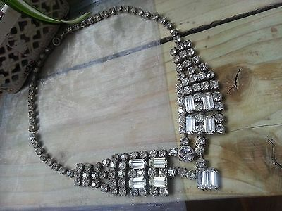 1940s Diamante Necklace in the Art Deco Style with Baguette & Round Set Stones