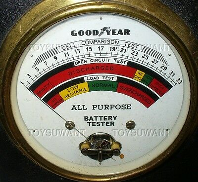 Antique Goodyear Battery Tester Automotive Hot Rod Mechanic Car Auto Wood Handle
