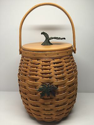 2000 Longaberger October Fields Basket Lid with Protector Double + Leaf Tie on