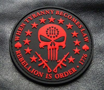 Three 3% Percenter Rebellion Tyranny Punisher 3 INCH PVC Rubber 3D PATCH RED