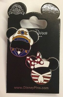 Disney Pin Disney Cruise Line Mickey And Minnie Captain Head Icon New Cruise Pin