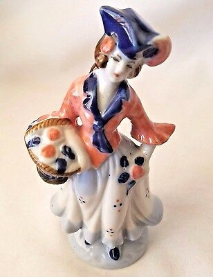 Porcelain Hand Painted Colonial Victorian Woman Figurine Made In Occupied Japan