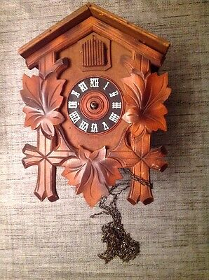 Antique Black Forest Cuckoo Clock  For Restoration  Or Spare Parts 23x18x12cm