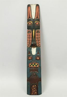 Unusual Early 20c Northwest Am Indian Polychrome Wood Totem Pole Wall Carving