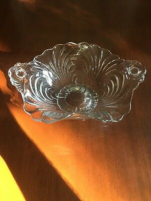 CAMBRIDGE GLASS:  CAPRICE Pattern:  Fluted Two Handle Footed Bowl / BonBon 8""