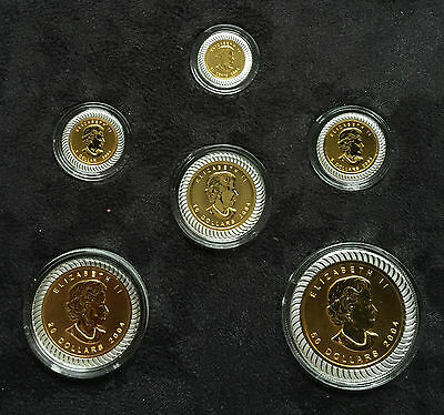 2004 Gold Bimetallic 6 Coin Maple Leaf Set .9999 Canada - 839 Minted - Full Set