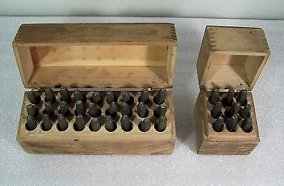 H. Boker Steel Letters & Figures Numbers Metal Punch Stamps Full Set Wood Box