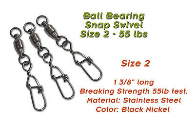 Torpedo Ball Bearing Snap Swivels Size 2 55lb 10-Pack