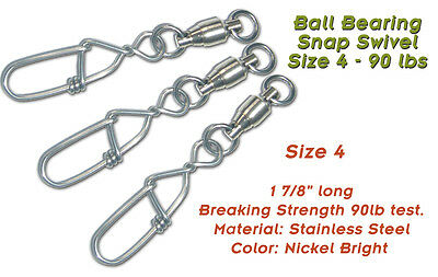 Torpedo Ball Bearing Snap Swivels Size 4 90lb 10-Pack