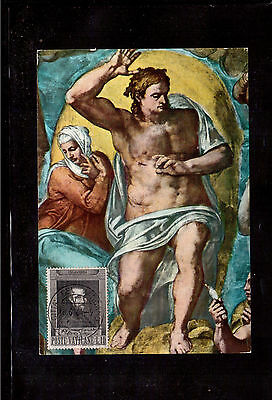 Vatican 1964 Maximum Card, Scott #387, Michelangelo Buonarroti !!3