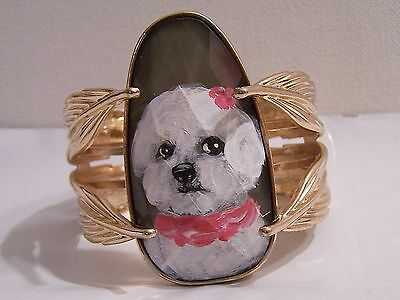 hand painted Bichon Frise painting on goldtone Glass bracelet one sz fitsmost