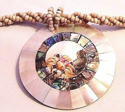 hand painted Yorkie paua abalone, and mother of pearl beads necklace