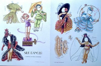 A Silk Dancer Doll Paper Doll, Peggy Jo Rosamond Artist, Mag. Color Plate 1993