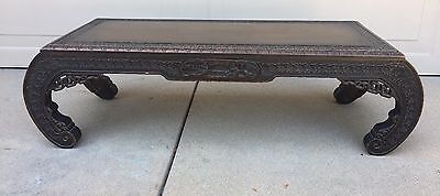 Vintage Chinese Asian Wood Carved Low Opium Altar Bench Coffee Table