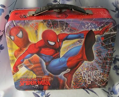 Marvel The Amazing Spider-Man Spider-Sense Metal Tin Carry Tote Lunch Box NWOT