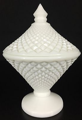 """ENGLISH HOBNAIL WESTMORELAND Candy Dish with Lid - Milk Glass - 7 1/2"""" Tall"""